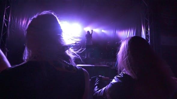 Thumbnail for Two Girls Enjoying Night Perfomance Of Musicians
