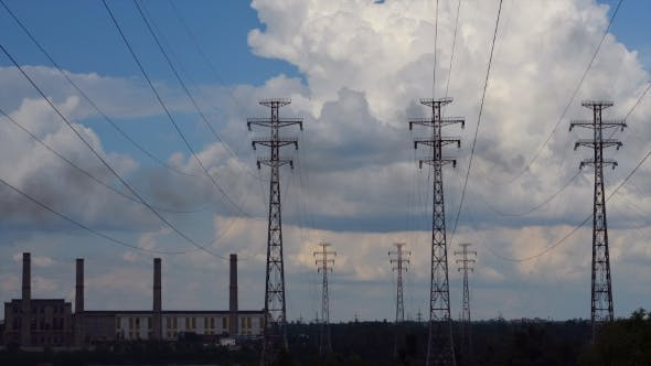 Thumbnail for Electrical Pylons With Clouds.
