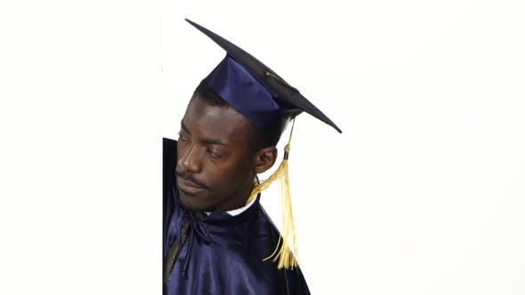 Thumbnail for Frightened Graduate Looking At The White Card. White.