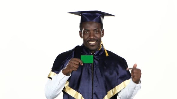 Thumbnail for Graduate Holding a Green Card. White.