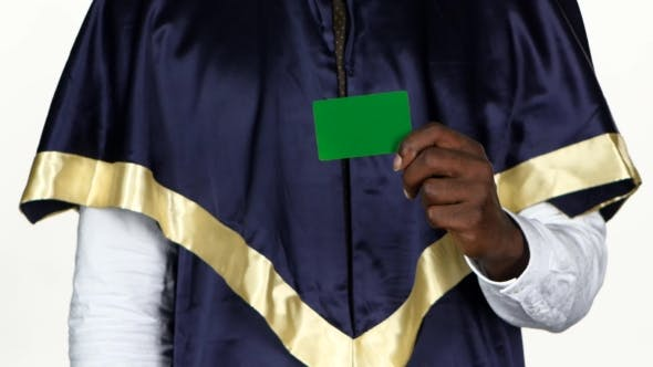 Thumbnail for Graduate Holds a Green Card. White.