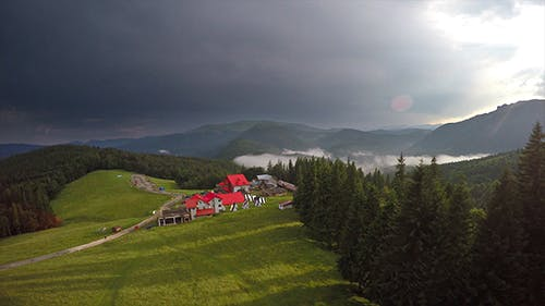 Aerial Pension in Mountain