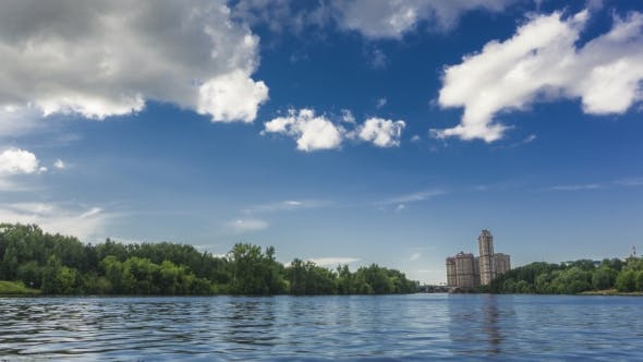 Thumbnail for Moscow Riversides, Speedboat and Dramatic Summer Clouds