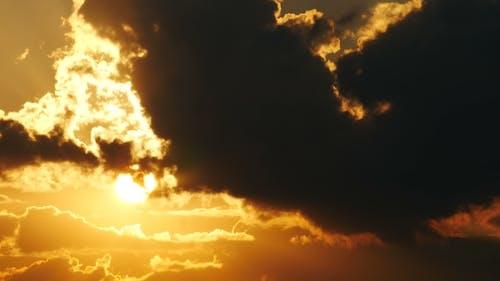 Big Sun With Orange Sky