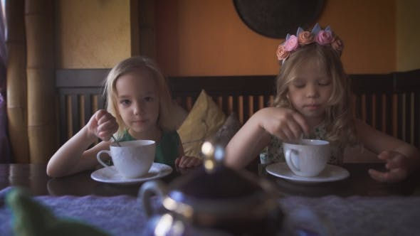 Thumbnail for Two Cute Little Girls Are Having Tea In a Cozy Cafe