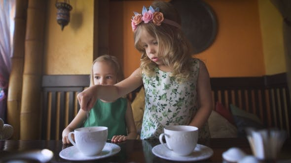 Thumbnail for Two Pretty Little Girls Are Having Tea In a Cafe