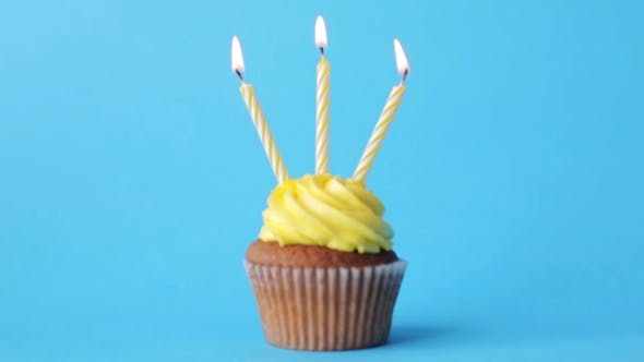 Thumbnail for Birthday Cupcake With Three Burning Candles