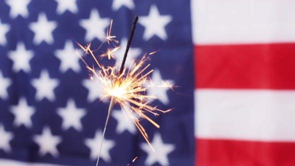 Thumbnail for Of Sparkler Burning Over American Flag