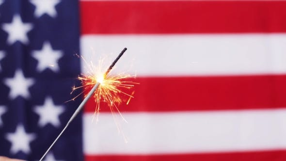 Thumbnail for Of Sparkler Burning Over American Flag