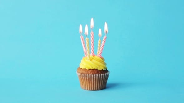 Thumbnail for Birthday Cupcake With Five Burning Candles