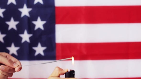 Thumbnail for Of Hand With Sparkler Over American Flag