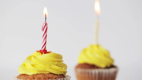 Thumbnail for Birthday Cupcakes With Burning Candles