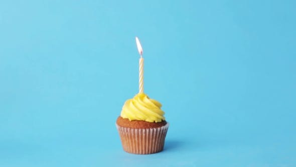 Thumbnail for Birthday Cupcake With One Burning Candle