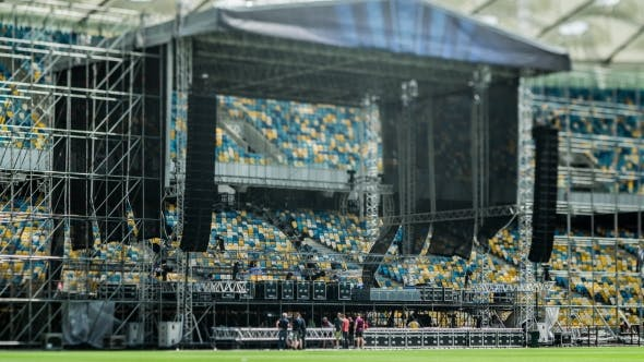 Thumbnail for Summer Cloudy Day, Workers Prepare The Stage For The Concert