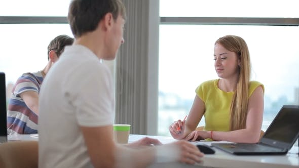 Thumbnail for Man Discissing With Girl In The Office
