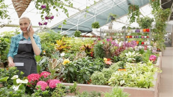 Thumbnail for Female Florist Talking On The Phone At The Garden Centre