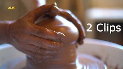 Ceramics Artist Starts Bowl on Potters Wheel