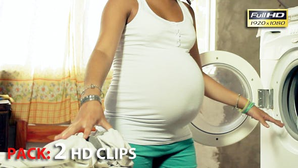 Thumbnail for Young Pregnant Woman Washing Clothes and Doing Laundry in a Laundromat. Pack 2 Full HD Clips.