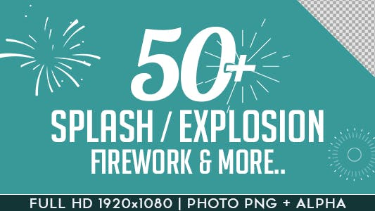 Thumbnail for Splash Explosion Fireworks Animated Shapes