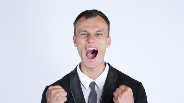 Thumbnail for Business Success, Celebrating Excited Businessman Portrait