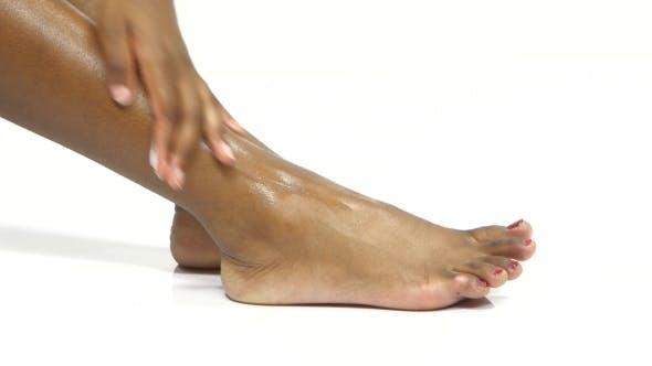 Thumbnail for Leg Skin Moisturizing. Foot Massage. White.