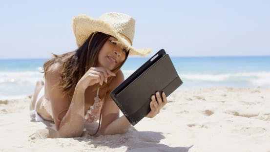 Thumbnail for Beautiful Woman On Beach Wearing Straw Hat