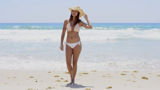 Thumbnail for Gorgeous Sexy Young Woman Walking On a Beach