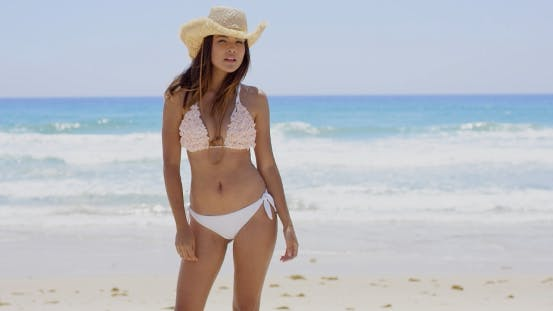 Thumbnail for Sexy Shapely Young Woman In a Bikini On a Beach