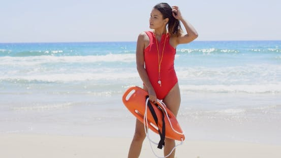 Thumbnail for Side View On Woman In Red With Buoy