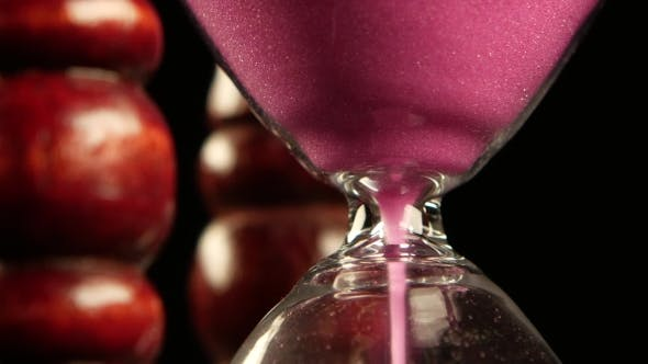 Thumbnail for Hourglass In Wooden Stand. Pink Sand.