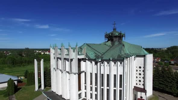 Thumbnail for Church in Small City Among Pastures. Drone Footage