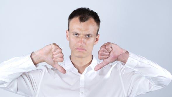 Thumbnail for Geschäftsmann Daumen nach unten beiden Händen