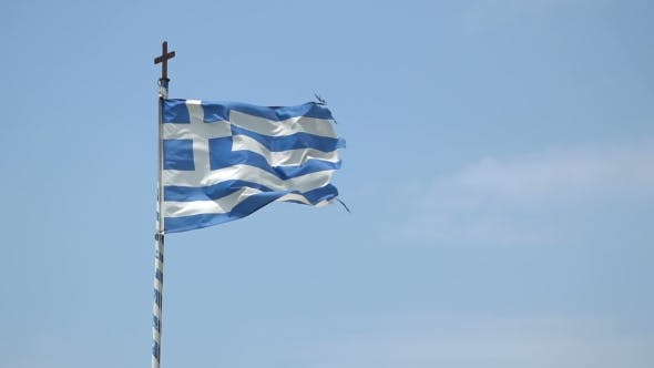 Thumbnail for Greek Flag Waving in the Blue Sky