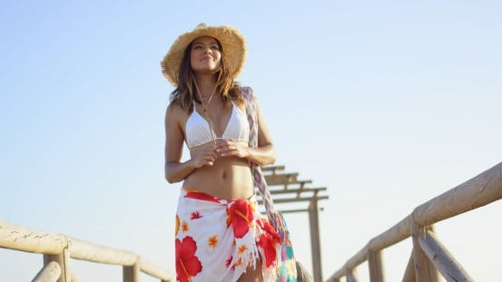 Thumbnail for Low Angle View Of Sultry Brunette With Straw Hat