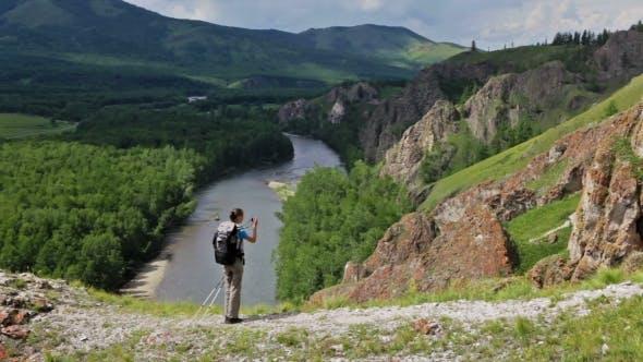 Thumbnail for Hiker Woman Is Walking Mountain,