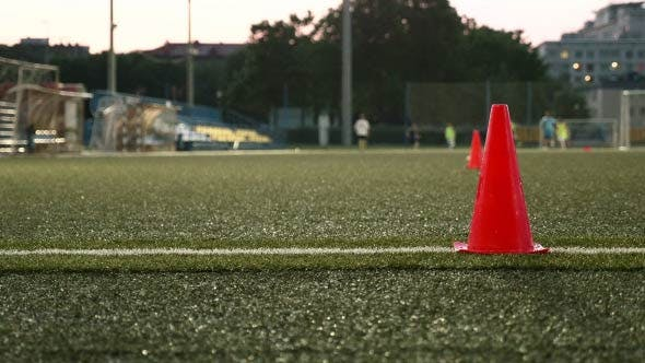 Thumbnail for Cone Markers on the Stadium. American Football Training