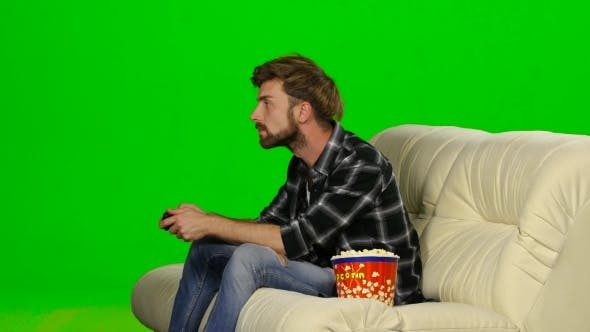 Thumbnail for Guy Won The Round Of The Computer Game. Green Screen