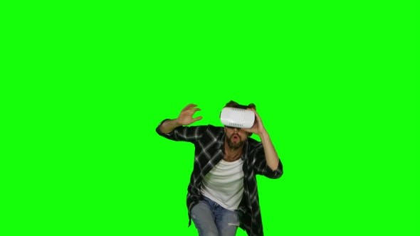 Thumbnail for Man in VR a Mask on His Eyes
