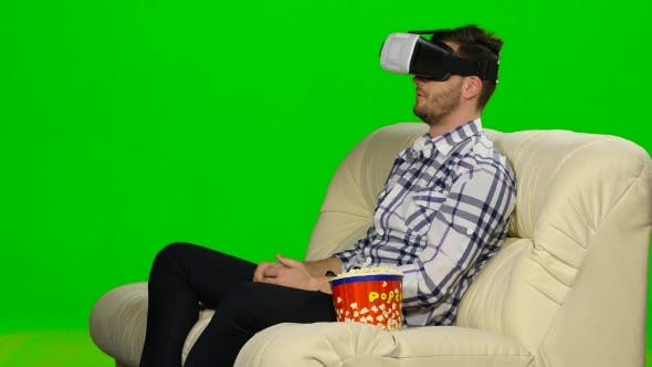 Thumbnail for Guy In a Mask Augmented Reality Device. Green Screen