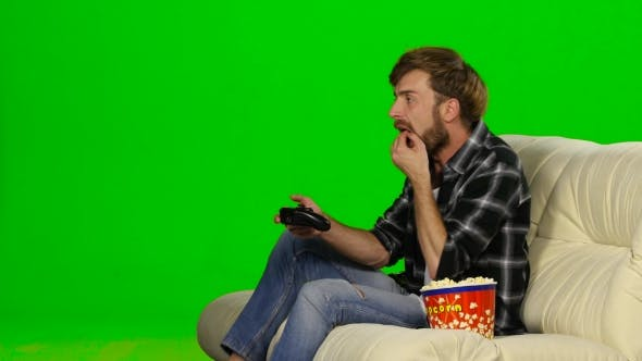 Thumbnail for Man Desperately Fighting In The Game On The Console. Green Screen