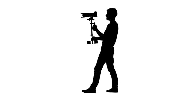 Thumbnail for Operator Makes Shooting Turning Around Itself. Silhouette. White Background