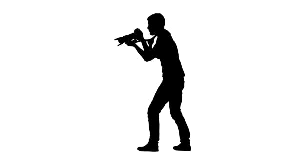 Thumbnail for Operator Leans Backwards And Forwards During Operation. Silhouette. White
