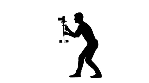 Thumbnail for Videography By Camera On Steadicam Installation. Silhouette. White Background