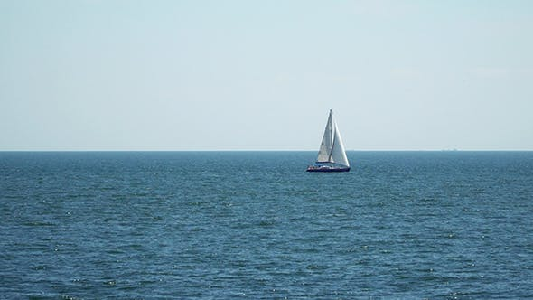Thumbnail for Yacht With Sails Floating in the Sea