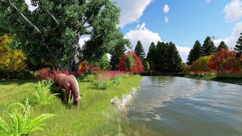 River Horse Matte Painting