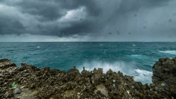 Thumbnail for Storm In Ocean With Storm Clouds, Waves Breaking On The Rocky Coast.