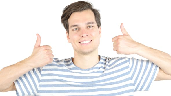 Cover Image for Young Positive Man Thumbs Up, Happy with Results