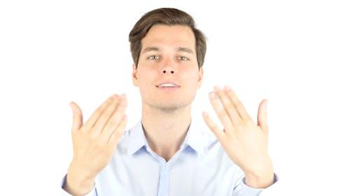 Businessman inviting on Forum, Venture