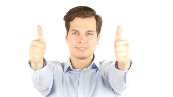 Thumbnail for Successful Businessman Thumbs Up for Team
