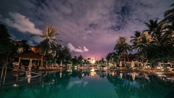 Thumbnail for Luxury Hotel With Pool At Night.   - Bali, Indonesia, June 2016.